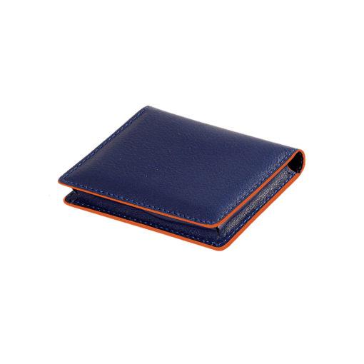 РАСПРОДАЖА Визитница для своих визиток, нат. кожа, Everest, 100 х 75 мм, синий/оранжевый/1, фактура с рисунком
