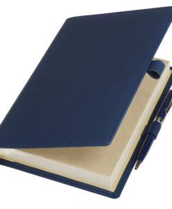 Ежедневник-портфолио Clip, синий, обложка soft touch, недатированный кремовый блок, подарочная коробка, в комплекте ручка Tesoro синяя