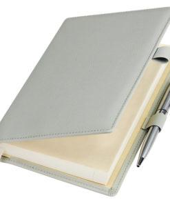 Ежедневник-портфолио Clip, серый, обложка soft touch, недатированный кремовый блок, подарочная коробка, в комплекте ручка Tesoro серебро