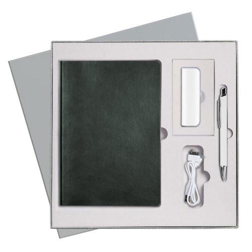 Подарочный набор Portobello/Voyage зеленый (Ежедневник недат А5, Ручка, Power Bank)