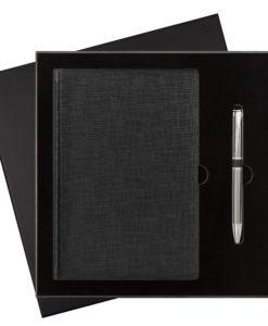 Подарочный набор City Flax/iP, черный (ежедневник недат А5, ручка)
