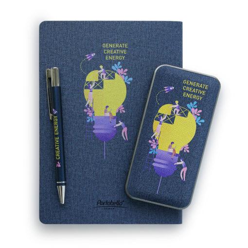 Внешний аккумулятор, Tweed PB, 10000 mah, синий, подарочная упаковка с блистером