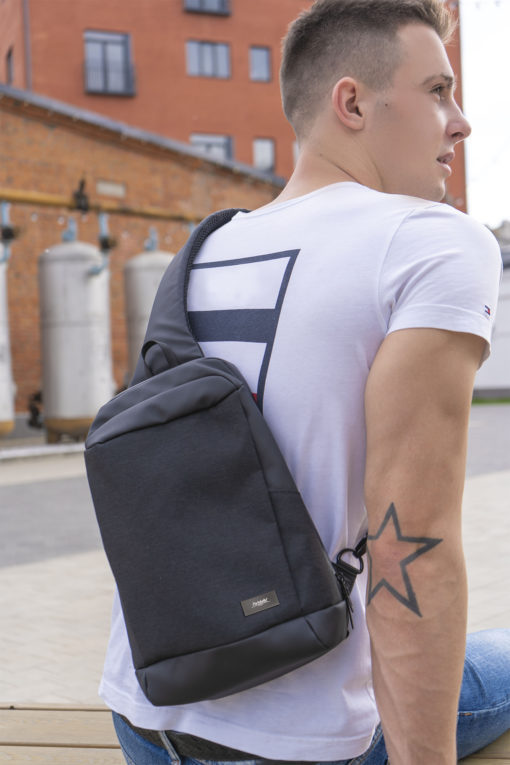 Рюкзак cross body, Frank, черный/серый