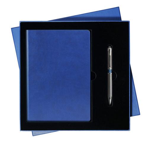 Подарочный набор Portobello/Sky синий-серый (Ежедневник недат А5, Ручка),черный ложемент