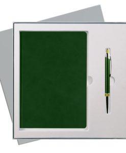Подарочный набор Portobello/Voyage зеленый (Ежедневник недат А5, Ручка) беж. ложемент