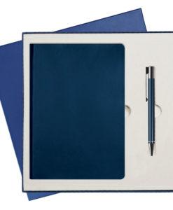 Подарочный набор Portobello/Latte синий-2 (Ежедневник недат А5, Ручка) беж. ложемент