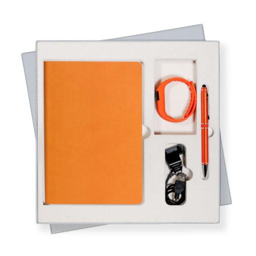 Подарочный набор Portobello/Sky оранжевый (Ежедневник недат А5, Ручка, Смарт браслет)