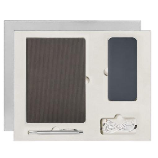 Подарочный набор Portobello/Rain серый (Ежедневник недат А5, Ручка, Power Bank)