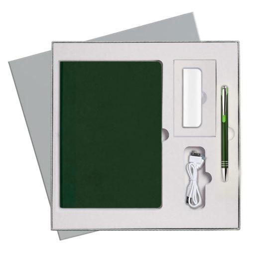 Подарочный набор Portobello/Latte зеленый-2 (Ежедневник недат А5, Ручка, Power Bank)