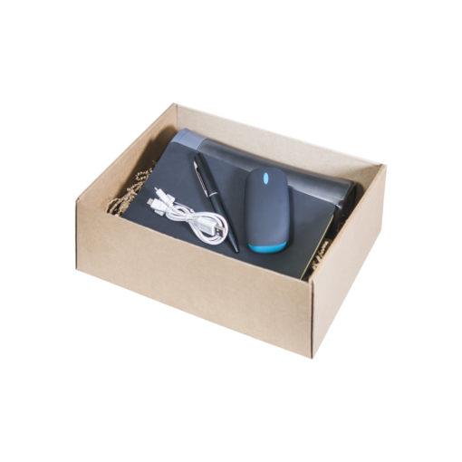 Подарочный набор Portobello черный-2 в малой универсальной подарочной коробке (Термокружка, Ежедневник недат А5, Power Bank, Ручка)