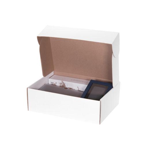 Подарочный набор Portobello серый-2 в большой универсальной подарочной коробке (Ежедневник Rain, Зонт Nord, PB Stone Island)