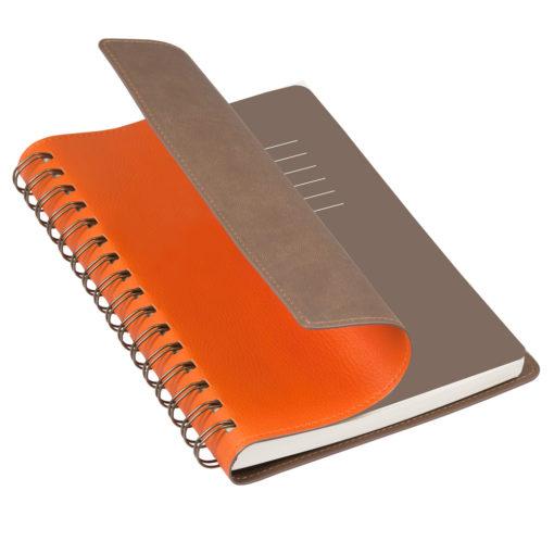 Ежедневник недатированный, Portobello Trend, Vista, 145х210, 256 стр, оранжевый/коричневый (корчневый форзац)