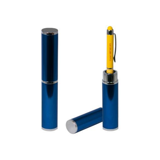 Коробка подарочная, футляр — тубус, алюминиевый, синий, глянцевый, для 1 ручки